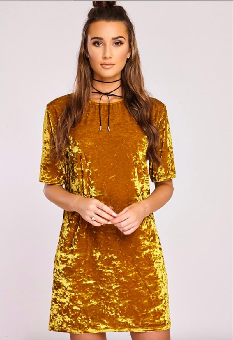 Short Sleeve Velvet Short Casual Dress 13