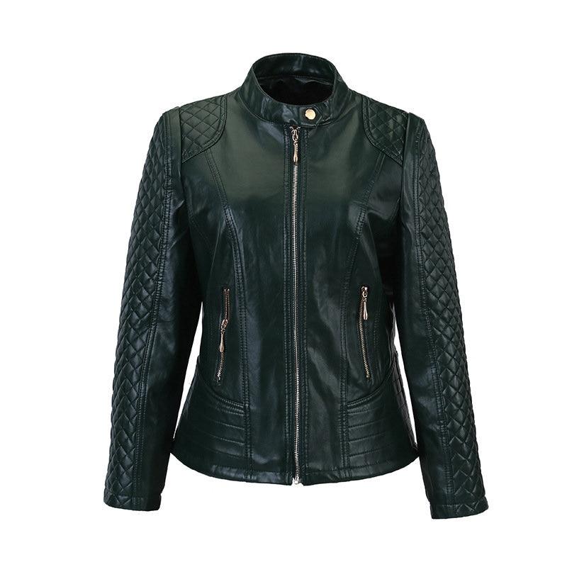 Flymokoii Կաշվե բաճկոն գարուն Plus Plus Չափ 4XL - Կանացի հագուստ - Լուսանկար 4