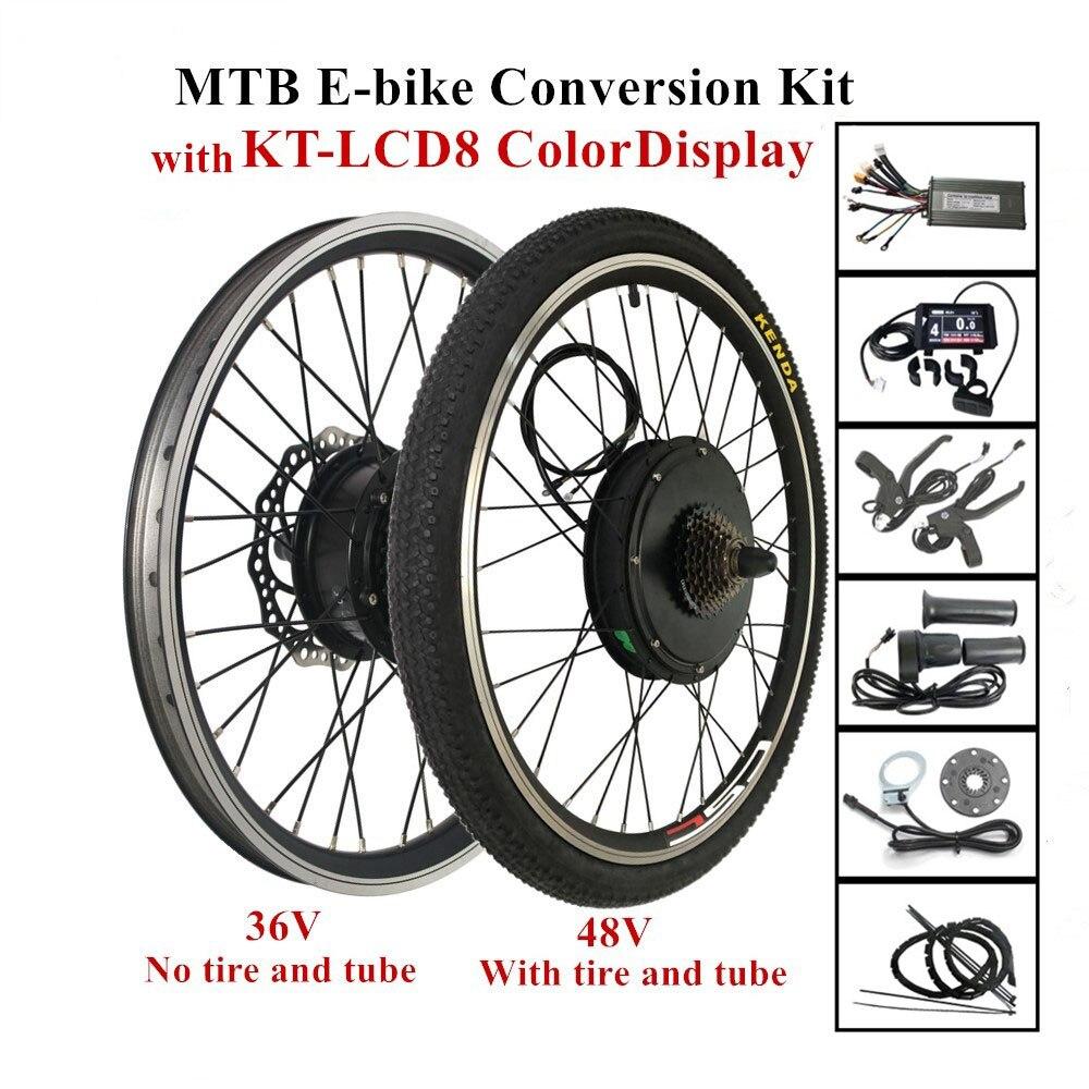 36V or 48V LCD8 Color Display MTB Ebike Conversion Kit 250W 350W 500W 1000W Hub Motor