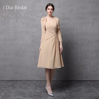 Two Piece Mother of the Bride Dress Chiffon A line V Neck Knee Length Wedding Mother Dress