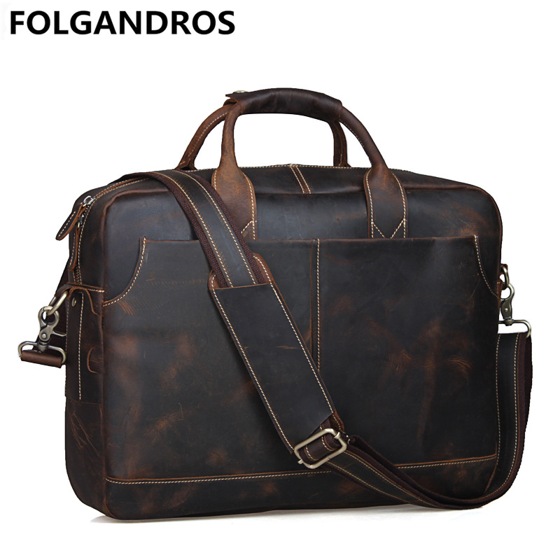 FOLGANDROS Vintage Genuine Leather Bag Men Top Quality Business Briefcase Large Capacity Weekend Cowhide Computer Messenger Bags