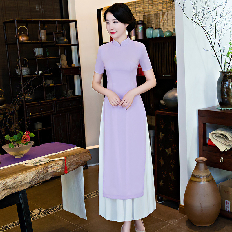 4025f838e New Qipao Long Cheongsams Dress Vietnam Style Lady Chinese Traditional  Qipao Summer Solid Color Vintage Dress