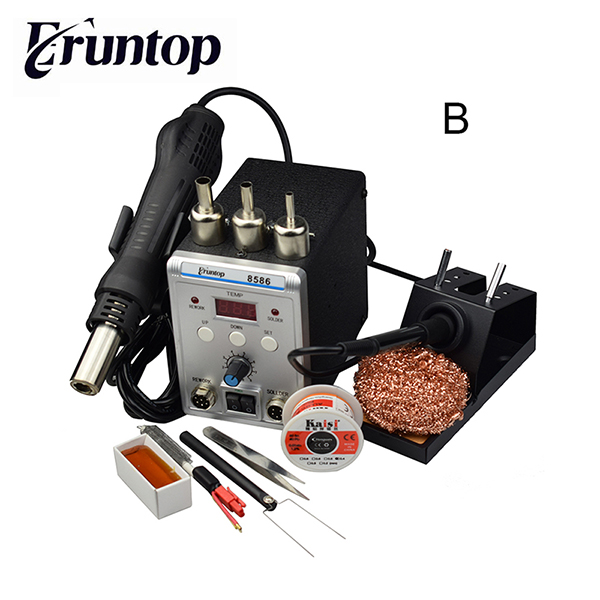 цена на New 10/220V Eruntop 8586 2in1 Electric Soldering Iron +Hot Air Gun SMD Rework Station