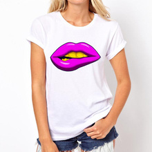 New Sexy Red Lips Print Women T-shirt Summer Casual Fashion Short Sleeve O-Neck Ladies White T-Shirt Brand Design Tops