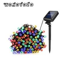 цена на Outdoor 7M 12M 22M Solar Powered LED fairy String light lamp Waterproof Christmas Party Garlands Garden Lawn Decoration