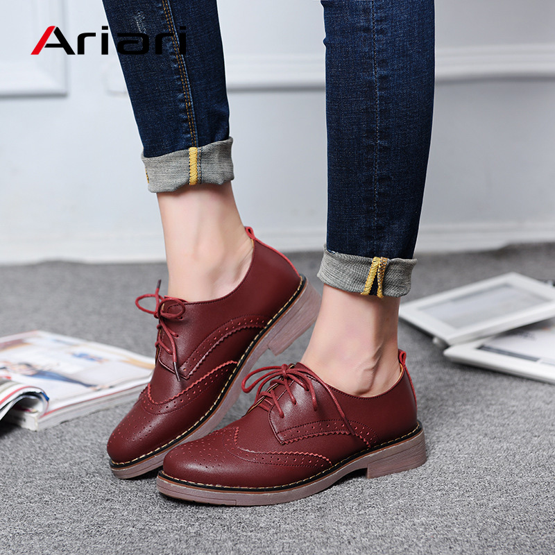 Ariari Women British Style Oxford Shoes Vintage Genuine Leat