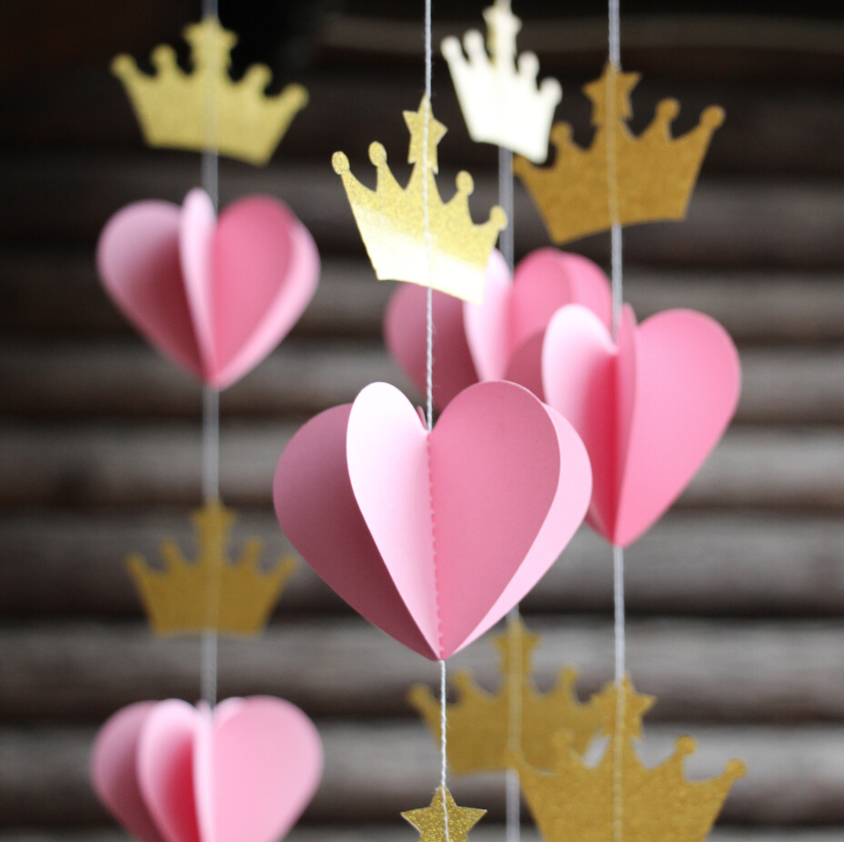 Gold color cardstock paper - Princess Tiara Garland Pink And Gold Nursery Decor Crown Bunting Photo Prop Paper Party Decoration Baby Shower