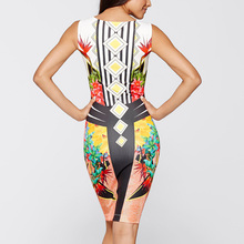 Tropical floral Real Knee-length None Geometric Summer Bodycon Dress