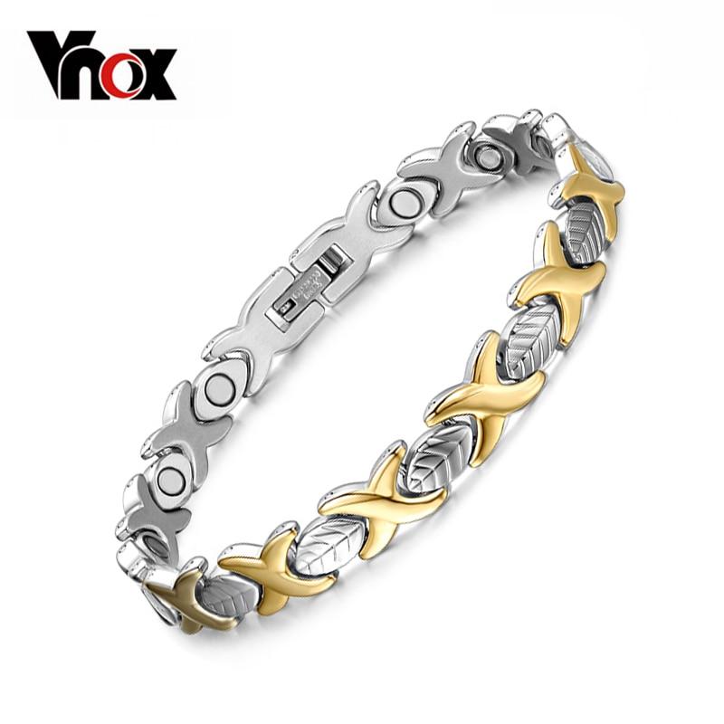 Vnox Elegant Health Magnet Bracelet Bangle for Women Stainless Steel Jewelry Adjustable Size