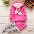 New Girls Clothes Sets Children Clothing Sports Suits Winter Plus Velvet Thick Boys Leisure Fashion Princess Kids Baby Suit Wave