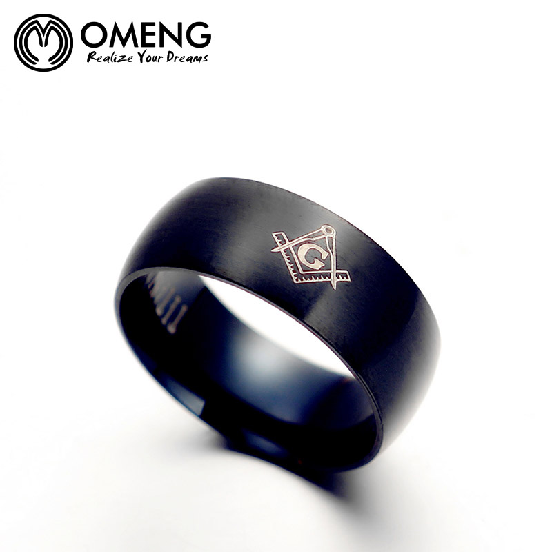 OMENG Hot sale Vintage masonic ring casting Punk Gothic free Mason Stainless Steel finger rings for men Free shipping OJZ051