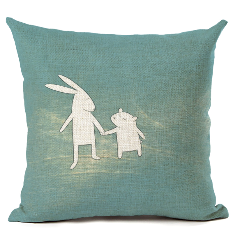 Online Store Throw Pillow Cushion Home Decor Couch Newspaper Reindeer Printed Linen Cuscino Square Cojines Almohadas