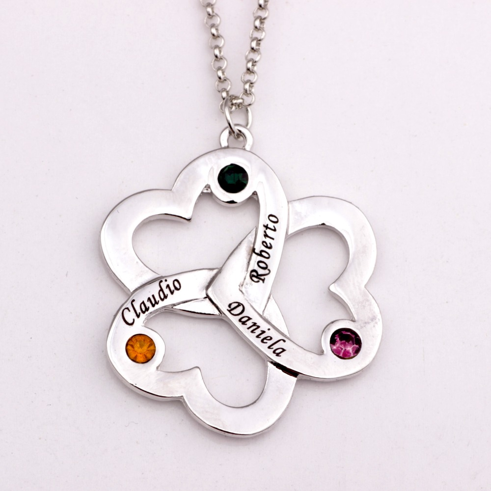 Personalized Triple Heart Necklace with Birthstones 2018 New Arrival Long Birthstone Necklaces Custom Made Any Name YP2493