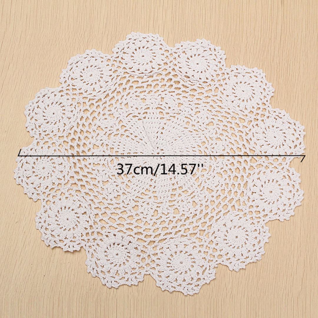 Handmade 37cm pure cotton placemat pad tableware crochet lace handmade 37cm pure cotton placemat pad tableware crochet lace doily flower coaster mat kitchen supplies mayitr bankloansurffo Image collections