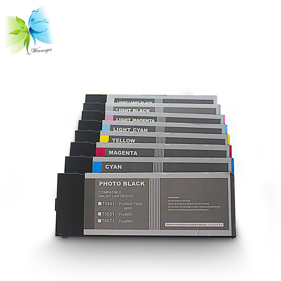 Winnerjet 2 sets 8 colors wholesale price T5441 printer sublimation ink cartridge for Epson Stylus pro 4000 inkjet cartridges in Ink Cartridges from Computer Office