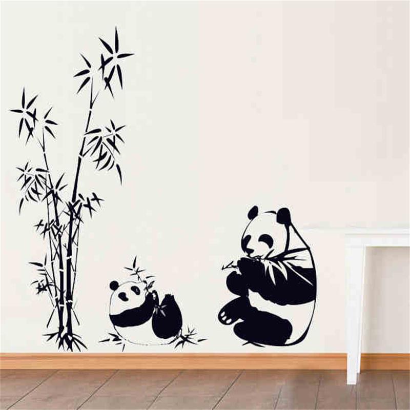 Diy Pandas Family Eat Bamboo Cute Wall Sticker For Living Room Kids
