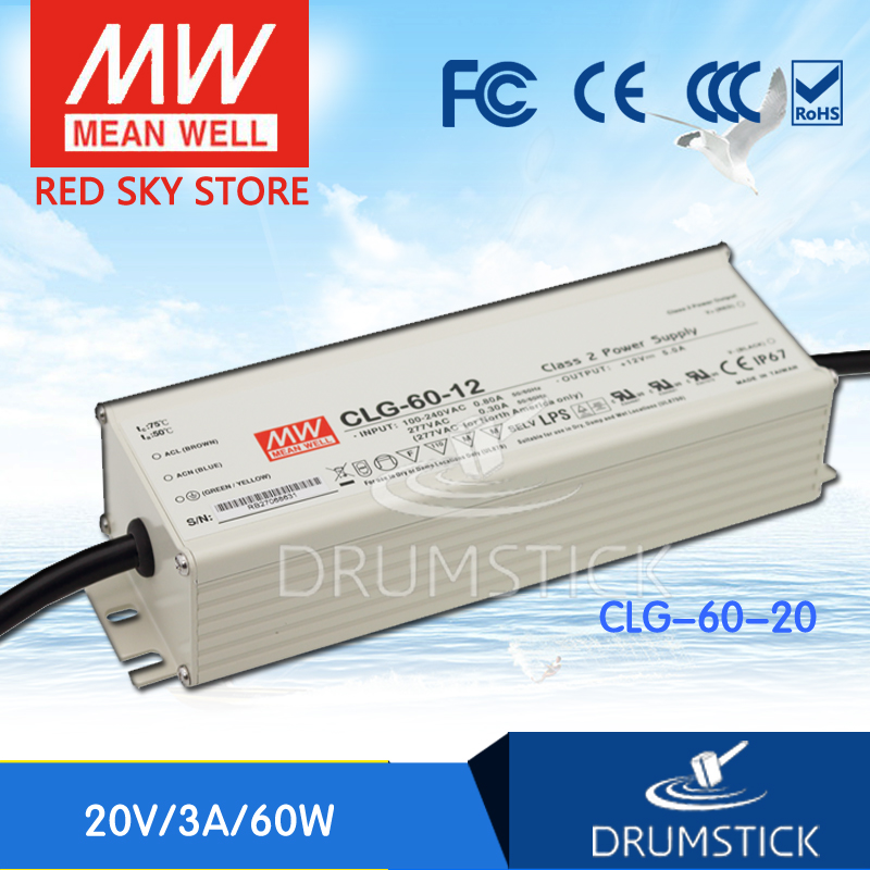 hot-selling MEAN WELL CLG-60-20 20V 3A meanwell CLG-60 20V 60W Single Output LED Power Supply [Real6] meanwell 24v 60w ul certificated clg series ip67 waterproof power supply 90 295vac to 24v dc