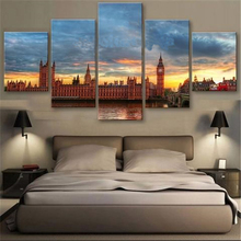 No Frames Spray Oil Painting large Modern City Landscape 5 Panel Canvas Art Wall Decor Picture For Home Sets Scenery Artwork