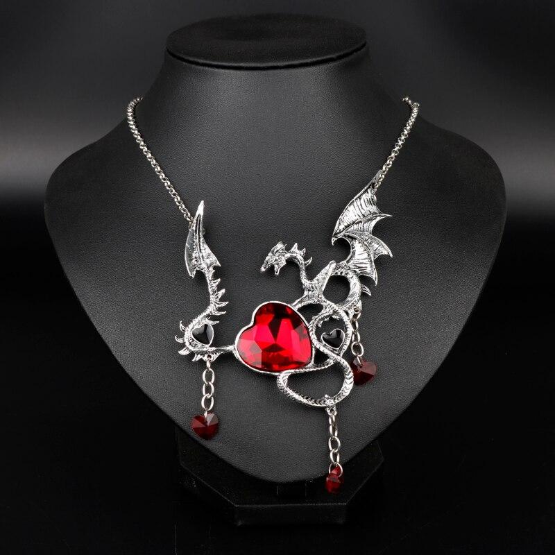 MQCHUN Gothic Blue Red Heart Crystal Jewelry Movie Game Of Throne Choker Necklace Daenerys Targaryen Dragon Charm Chain Pendant все цены