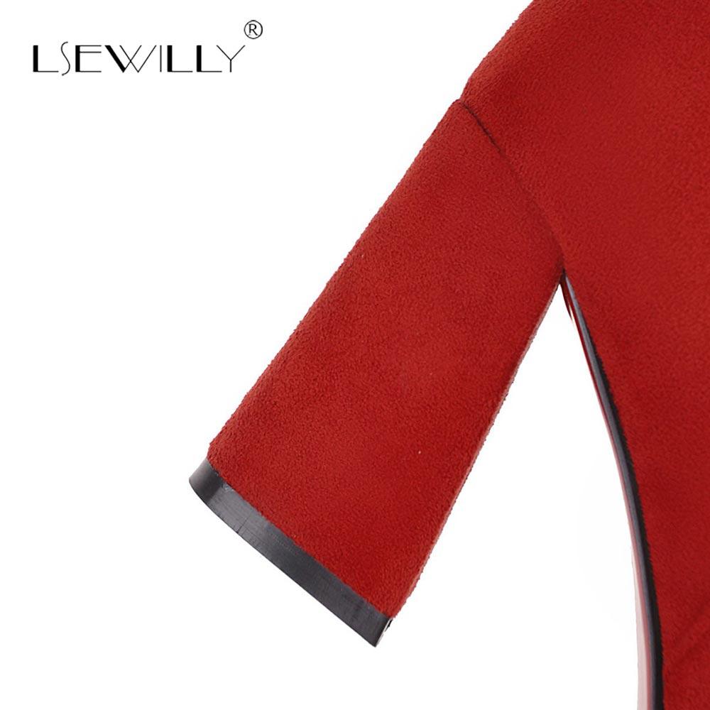 La Mujer Invierno S819 Alto Fiesta Lsewilly Calzado De 2018 Otoño Tacón Calidad De Negro Casuales Alta 33 Gruesas rojo Mediados Zapatos becerro marrón Botas 43 ppw8q