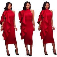 Adogirlสีแดงสูงคอฤดูใบไม้ร่วงแขนกุดนัวเนียชุดหรูหราMidi B Odyconดินสอพรรคอย่าง