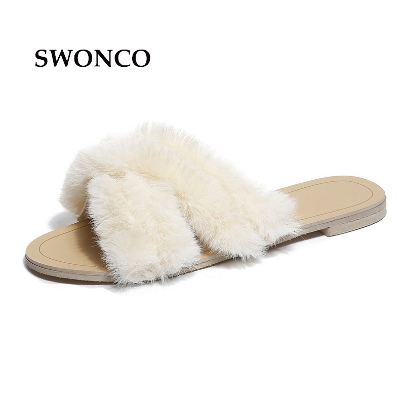 SWONCO Women's Slippers Shoes 2018 Summer Fashion Furry Open Toe Female Shoe Women Shoes Casual Rubber Sole Non-slip Woman Shoe french steel toe shoe covers protector visitor overshoes rubber sole non slip shoe woman safety work shoes for high heel