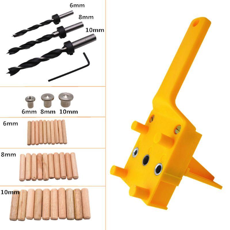 41 unids/set pasador de carpintería manual guía Jig para 6 8 10mm brocas perforación de madera pasador recto con manga de Metal
