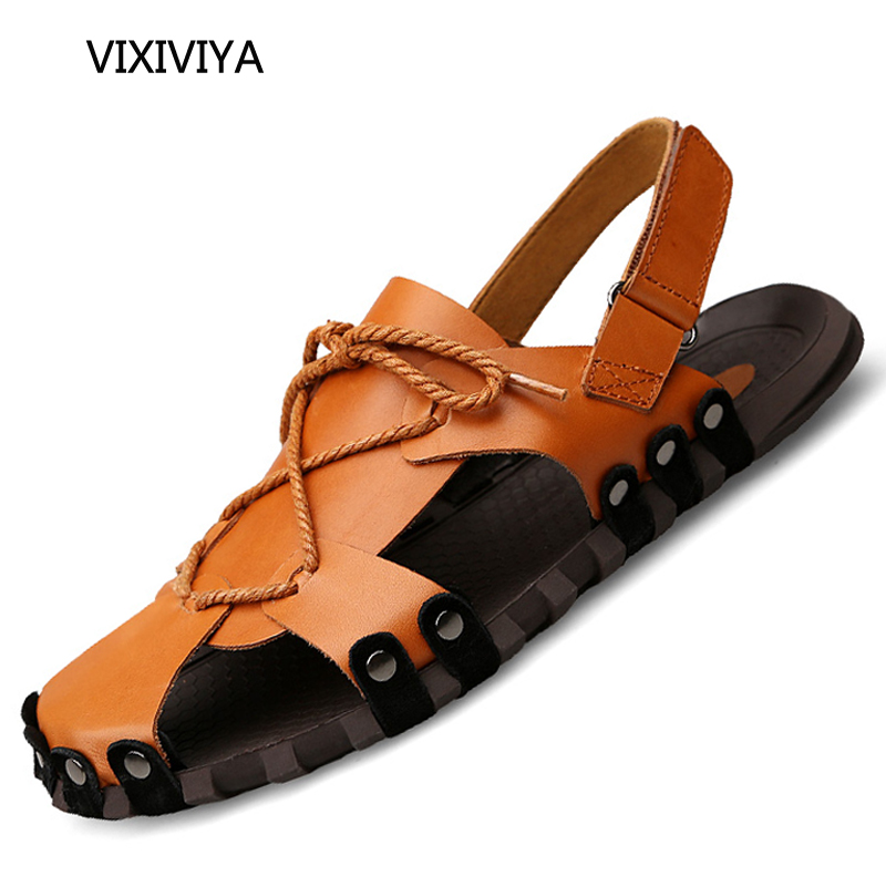 2018 New style mens sandals summer shoes genuine leather casual fashion beech sandals for men platform breathable soft shoe man