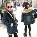 2016 Crianças Novas de Inverno Meninas Jaqueta Jeans Crianças Mais Grossa de Veludo Casaco Jaqueta Grande Virgem Quente