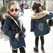 2016 New Hiver Enfants Filles Denim Veste Enfants, Plus Épais Velours Veste Grande Vierge Chaud Manteau