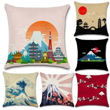 Fuji Mountain view Japanese-style drawing printed cushion cover Pillow case for Chair seat Home sofa Decoration kids friend gift nordic style tropical plants flamingo green leaf cushion cover decoration for home sofa chair car pillow case friend kids gift