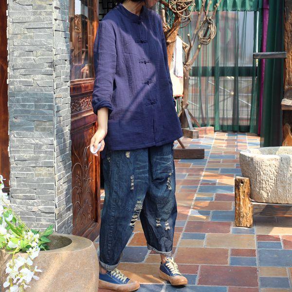 Johnature Original 2019 Autumn New Women Jeans Cotton Denim Cross pants Elastic Waist Loose Ripped Hole