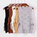 New 2016 Solid O-Neck Hollow Out Knitting Pullover Women Vest Feminine Both Ties Gilet Sleeveless Waistcoat Tops
