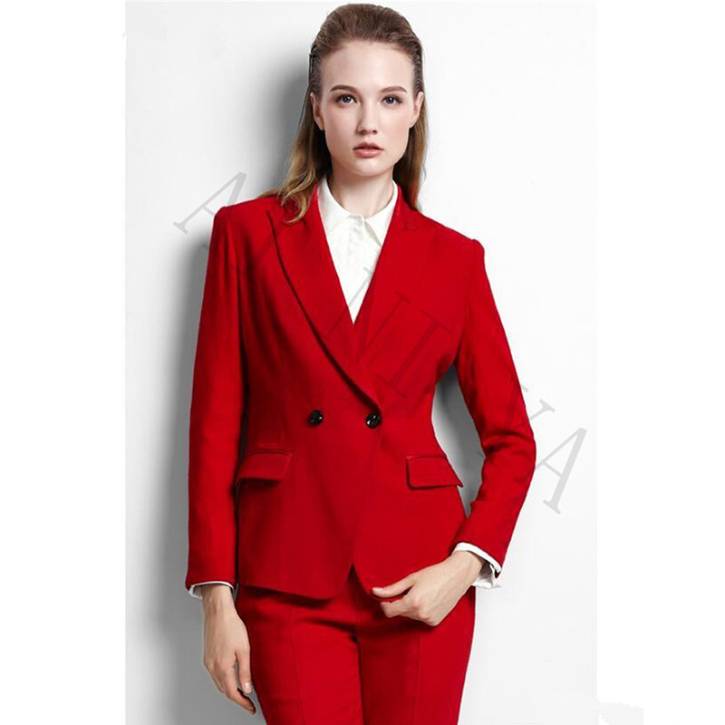 febf7cccbdda Jacket + Pants Vestiti di Affari Delle Donne Rosso Doppio Petto Femminile  Ufficio Uniforme Convenzionale Promenade di Sera Del Partito Delle Signore  Sottili ...