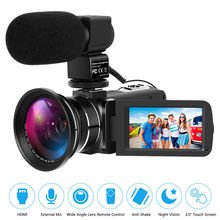 DSLR Microphone Video Digital Camera HDMI Ultra HD 1080P Waterproof DV Camcorder Wide Angle Camera with Microphone & Camera Bag