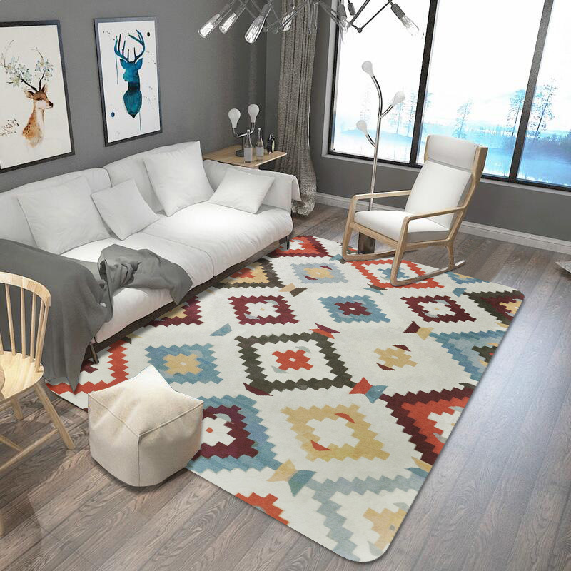 Tapis nordique tapis géométrique chambre d'enfants paillasson tapis de prière coloré grand tapis Rectangle flanelle tapis pour salon