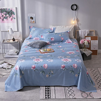 Blue Print 3Pcs Bed Flat Sheet Cotton Pattern Mattress Cover Geometric Bedspread For Kids Adults Bedding Covers 250X270CM 5 Size