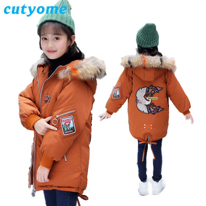 5-16 Years Kids Girls Winter Jackets 2018 Fashion Long Children Fur Collar Eembroidery Outerwear Parka Teenage Warm Hooded Coats weixu fashion girls winter coat kids outerwear parka down jackets hooded fur collar outdoor warm long coats children clothing