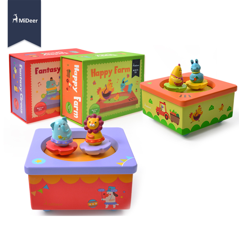 MiDeer Baby Wooden Music Box Happy Farm Dancing Animal Beautiful Tune Kids Educational Toys For Children Christmas Birthday Gift