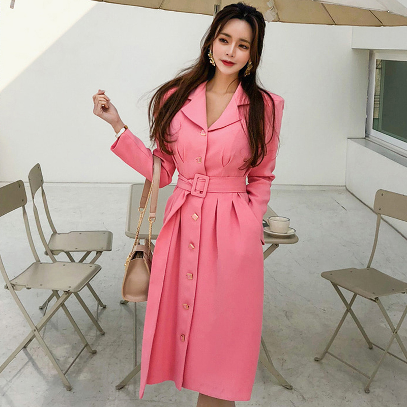 new arrival women fashion comfortable party   trench   coat professional OL temperament solid outdoor holiday pink long   trench