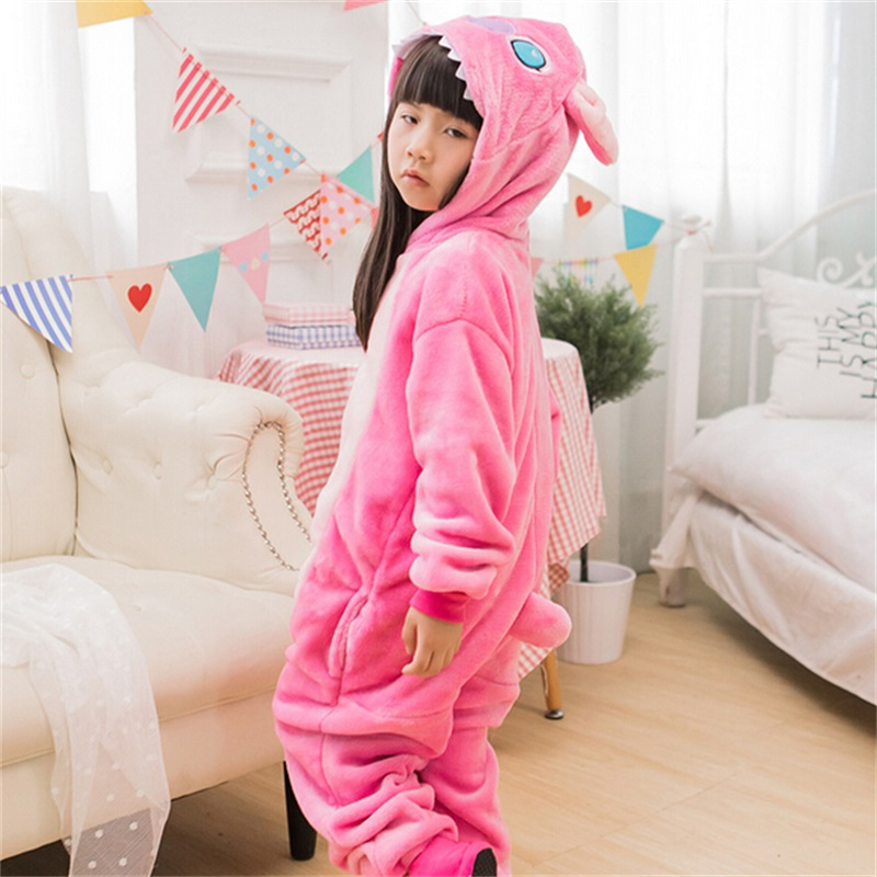 Pink Stitch Costume Flannel Soft Carnival Animal Cosplay For Girl Child Kigurumi Onesie Suit Jumpsuit Set With Shoe Sleepwear