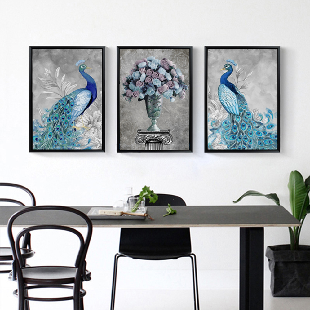 Unframed HD 3 Nordic Art Paintings Retro Peacock Inkjet Canvas For Living Room Vase Decoration Painting Free Shipping