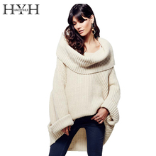 HYH HAOYIHUI Women Sweater Long Sleeve Loose Elegant Streetwear Pullover Autumn Winter Asymmetrical Knitted Casual