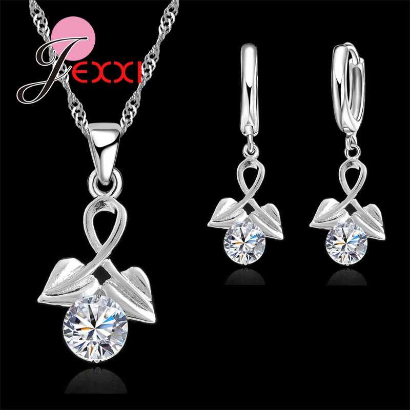 Luxury Elegant 925 Sterling Silver Double Heart Cubic Zirconia Drop Earrings for Women Bride Wedding Jewelry Sets