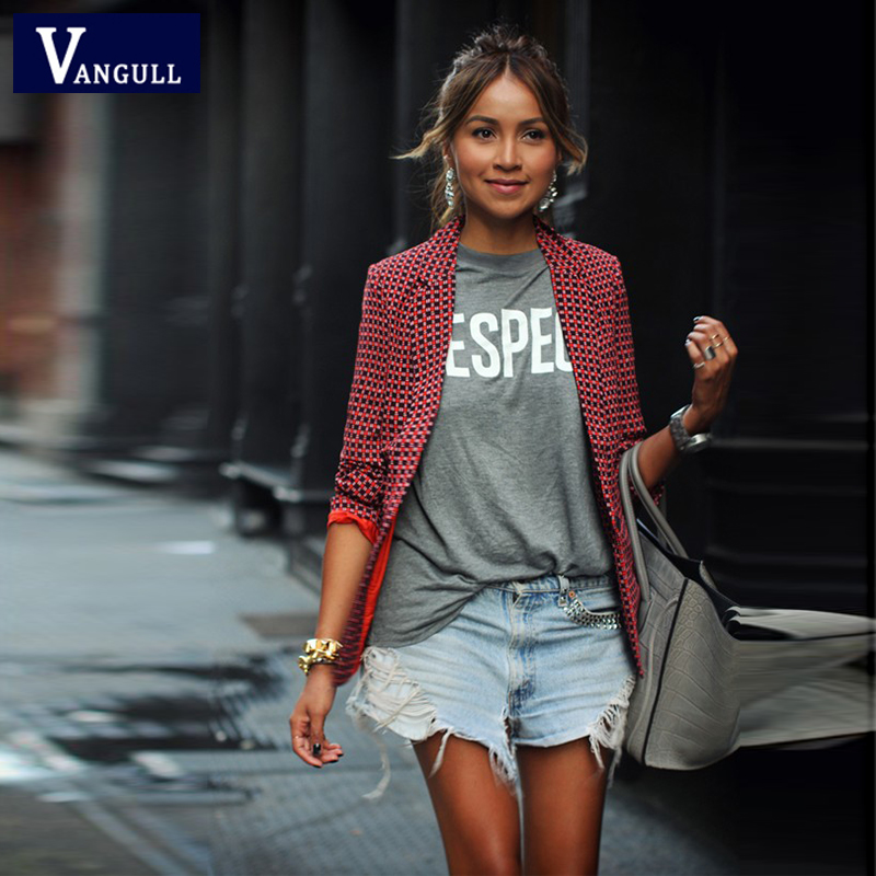 Vangull Spring Fashion Women's Clothing Red Plaid Short Blazers Casual Slim Single Button Notched Long Sleeve Female Coats