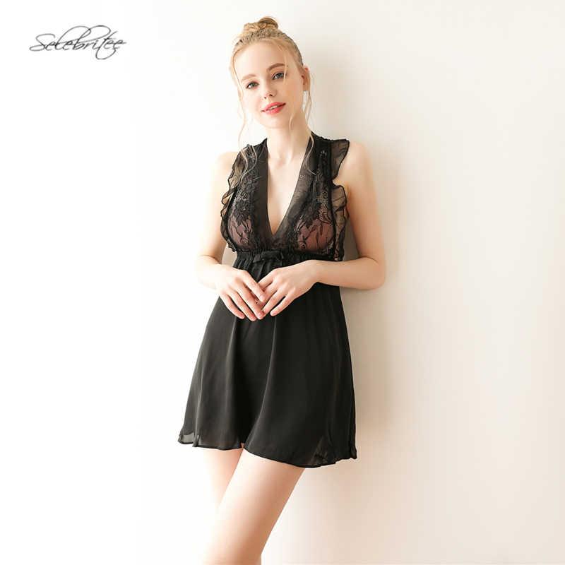 Selebritee ночные рубашки женские пижамы шифон с глубоким v-образным  вырезом без рукавов ночное белье 92461260f5e46
