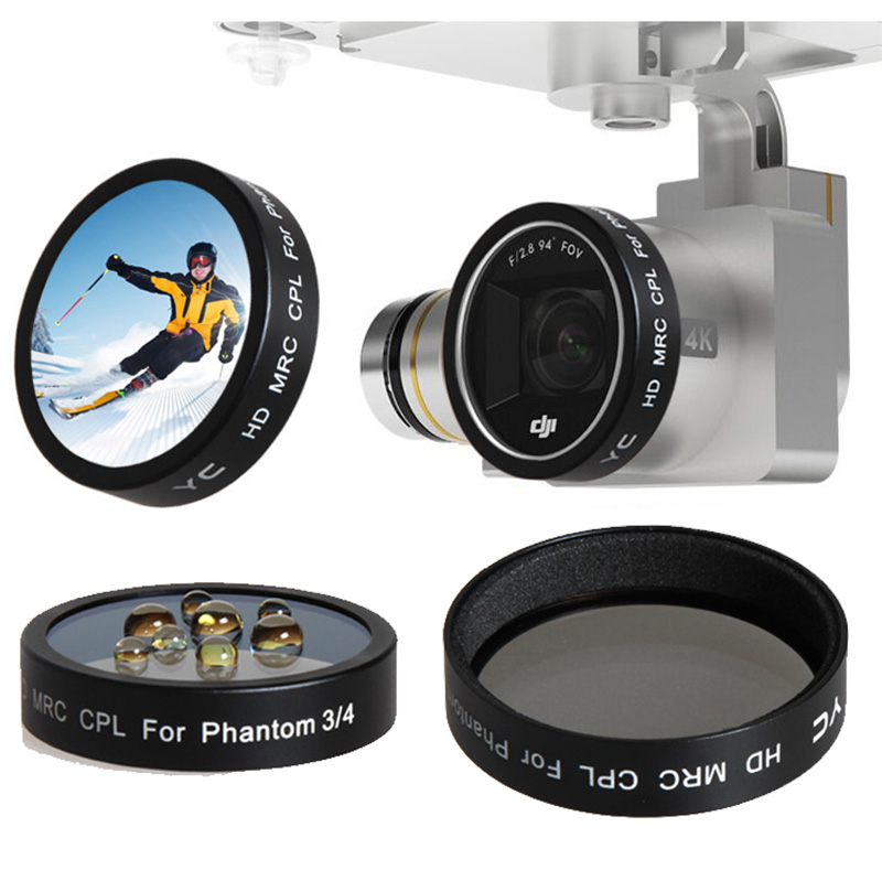 3 pieces CPL Circular Polarizer ND2-400 Gradual Gray Lens Filter for Phantom 3 and Phantom 4 Drone Camera Multi Coated Lens