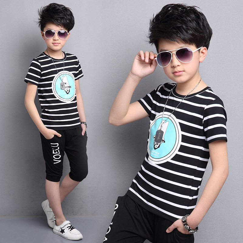 Summer Kids Clothes Short Sleeve Pullover Striped Shirt + shorts Pants Children Sports Suit Big Boy Clothes Boys Clothing Sets