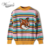 Brand Quality Harajuku Contrast Color Block Striped Sweater Wolf Jacquard Knit Slim Tops Sweater Women Pullovers C 391