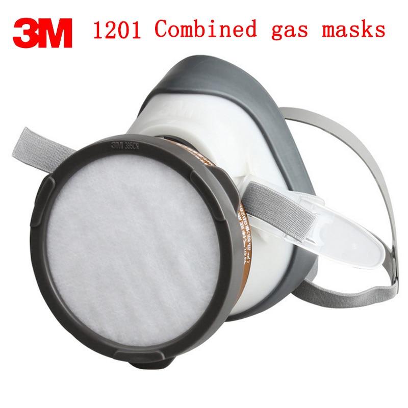 3M 1201 respirator gas mask Genuine high quality respirator face mask Pesticide Paint Organic vapor formaldehyde gas mask 3m 7502 mask 2097 filter genuine high quality respirator face mask painting graffiti polished respirator gas mask